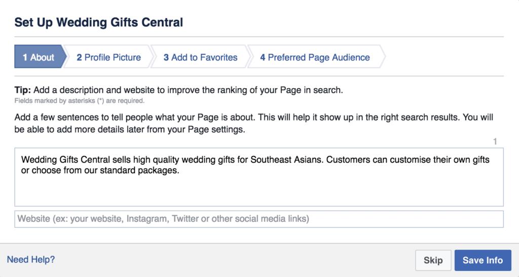 page description