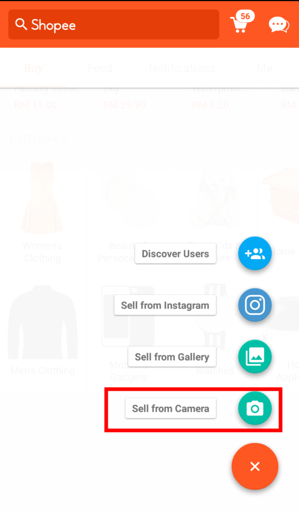 Shopee upload product image screen