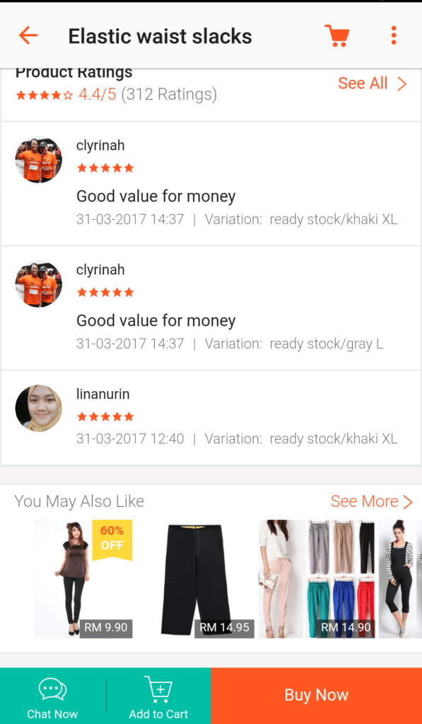 Shopee user rating and reviews 2
