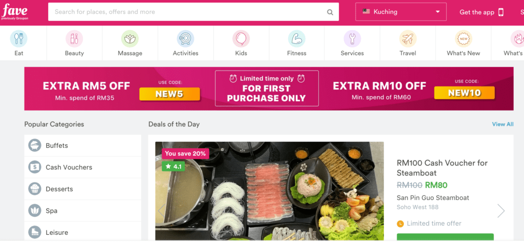 Fave homepage deals