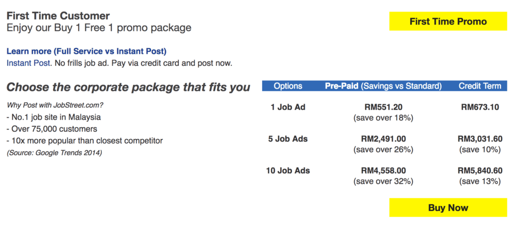 Jobstreet Ad Pricing