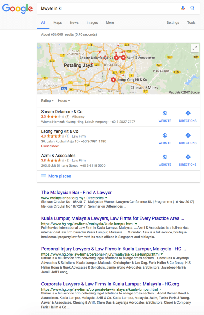 search results first page google lawyers in kl