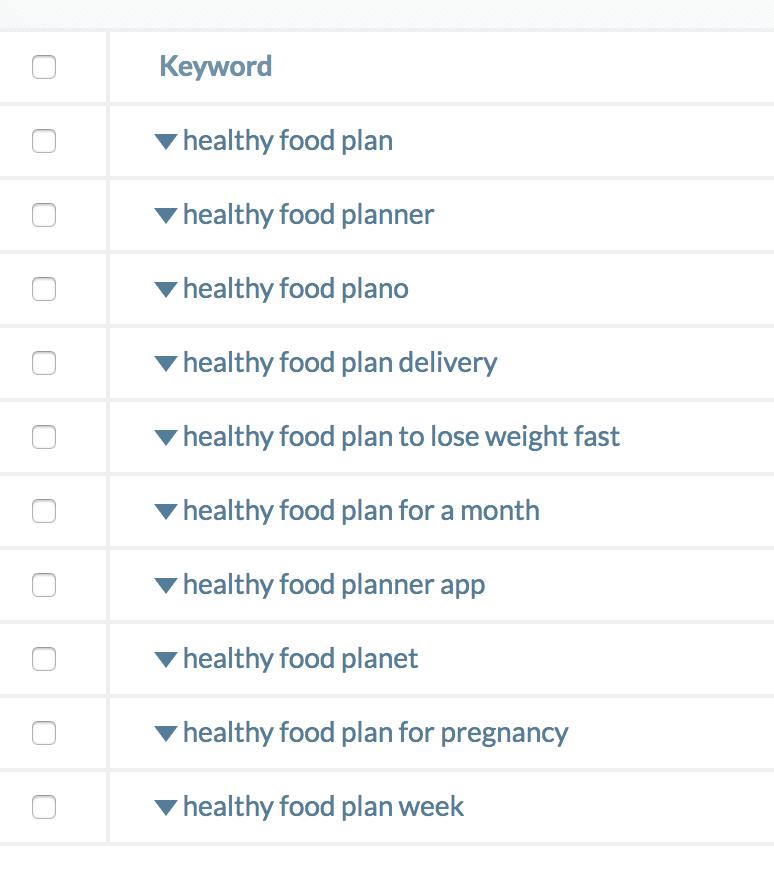 UberSuggest keywords